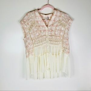 Anthropologie Akemi + Kin Button Down Lace Blouse